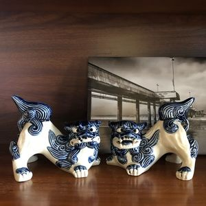 Foo Dog Hand Painted Sculptures Bookends Set of 2
